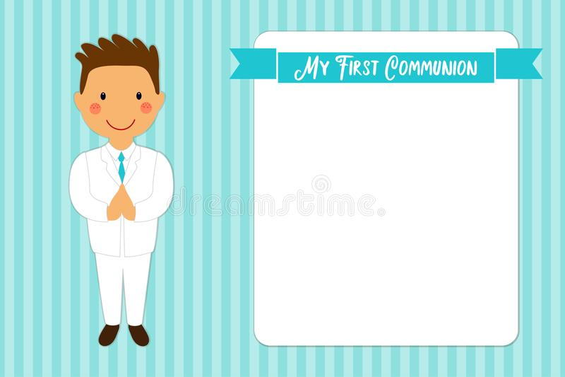 Première carte mignonne de communion pour des garçons illustration libre de droits
