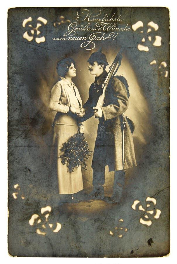 Première carte postale de guerre mondiale de vintage photos libres de droits