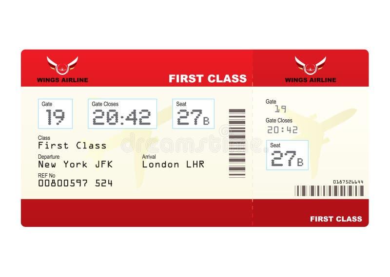 Première classe de billets d'avion illustration de vecteur