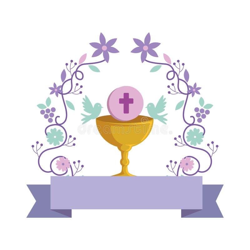 Première communion dans le calice avec la couronne florale illustration stock