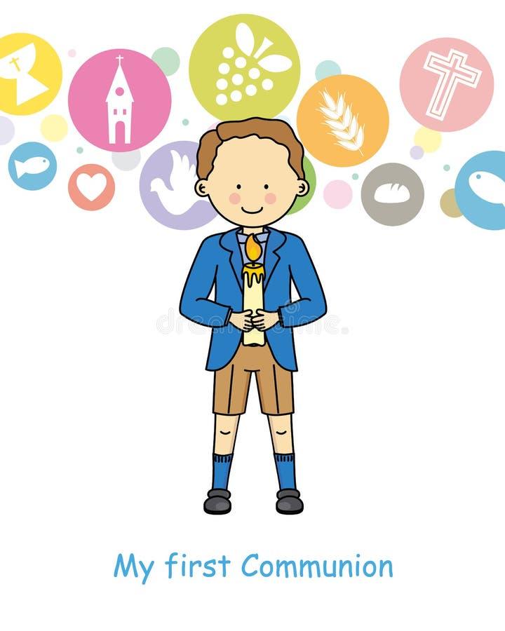 Première communion de garçon illustration de vecteur