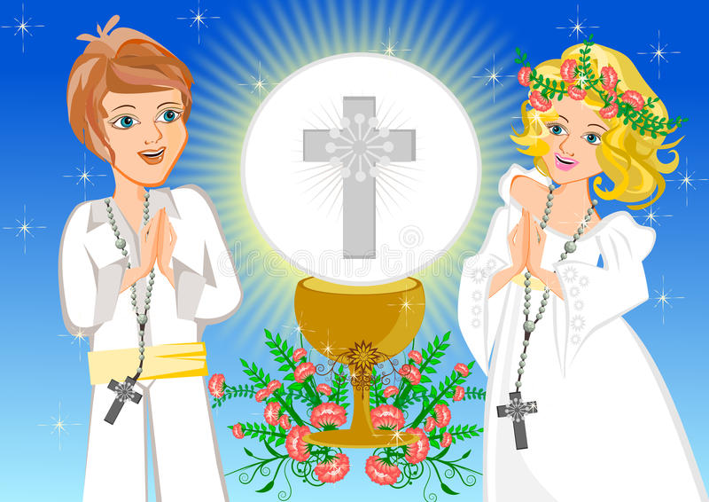 Première communion sainte illustration de vecteur