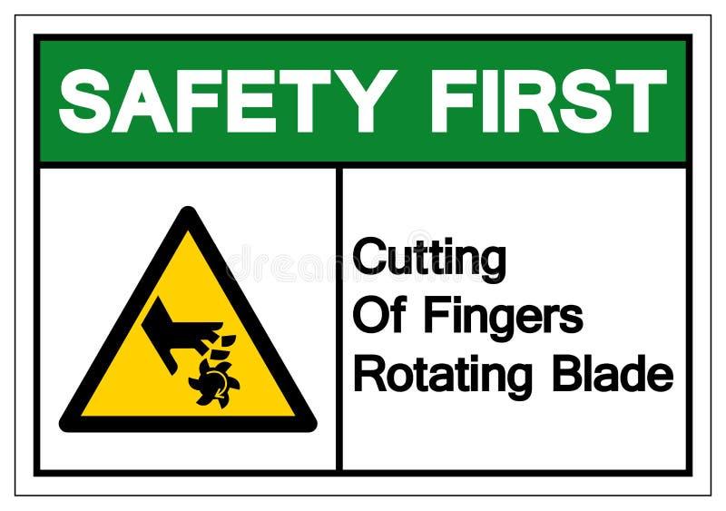 Première coupe de sécurité des doigts tournant le signe de symbole de lame, illustration de vecteur, isolat sur le label blanc de illustration libre de droits