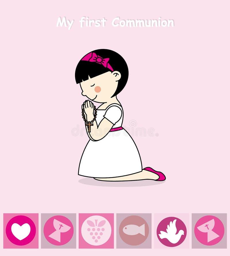 Première fille de communion illustration stock