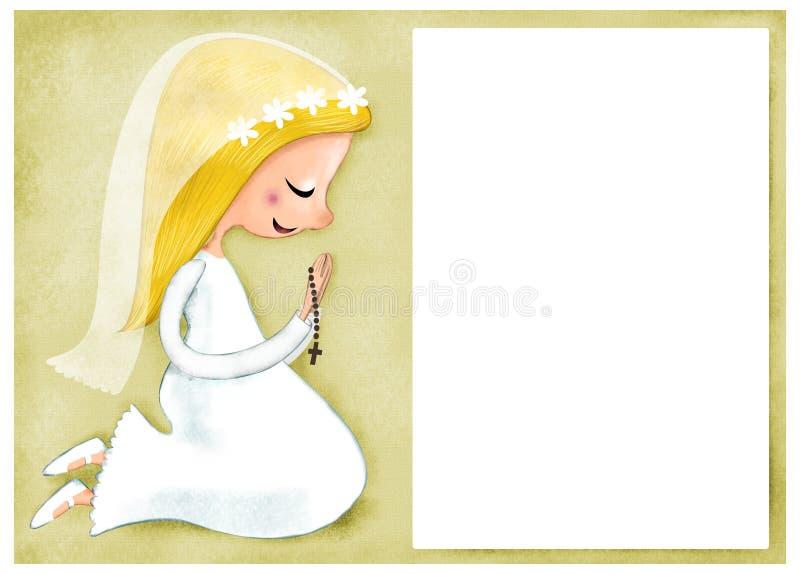 Première invitation de communion avec la fille blonde illustration libre de droits