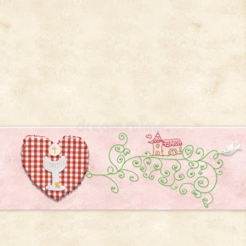 Première invitation de sainte communion pour la fille illustration stock