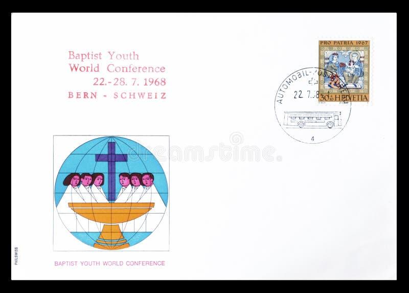 Première lettre d'accompagnement décommandée de jour imprimée par la Suisse photo stock