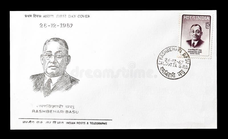 Première lettre d'accompagnement de jour imprimée par l'Inde images stock