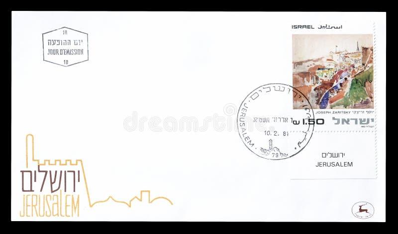 Première lettre d'accompagnement de jour imprimée par l'Israël images libres de droits