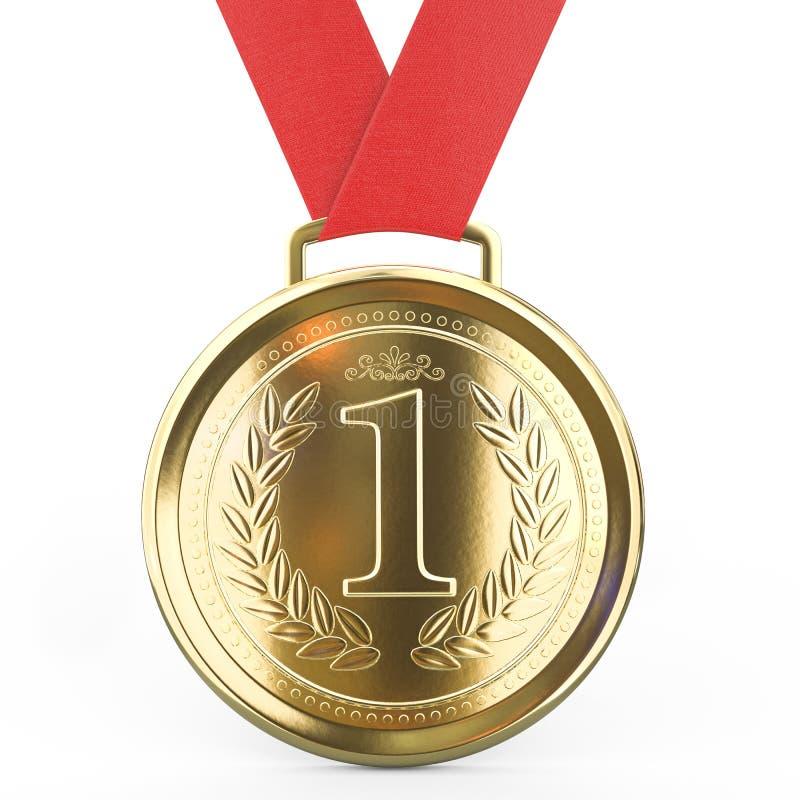 Première médaille d'or d'endroit avec le ruban rouge d'isolement sur le fond blanc - rendu 3D illustration de vecteur