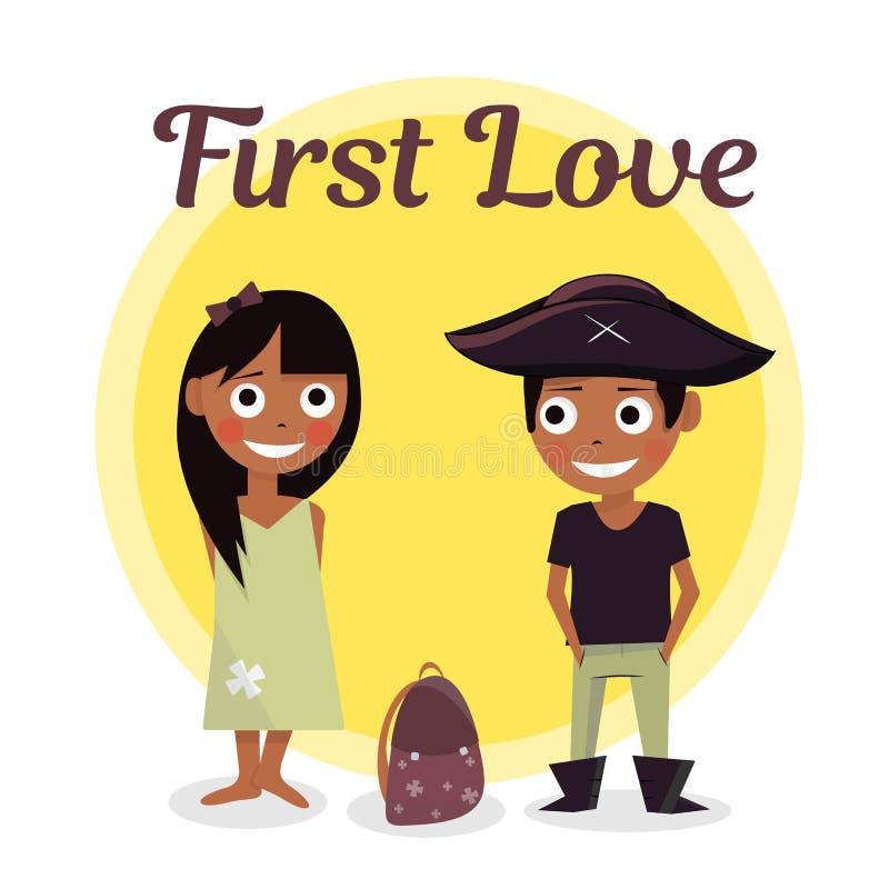 Première passion à l'école Le garçon veut aider à porter des filles de serviette Illustration de vecteur de jour de valentines Sc illustration stock