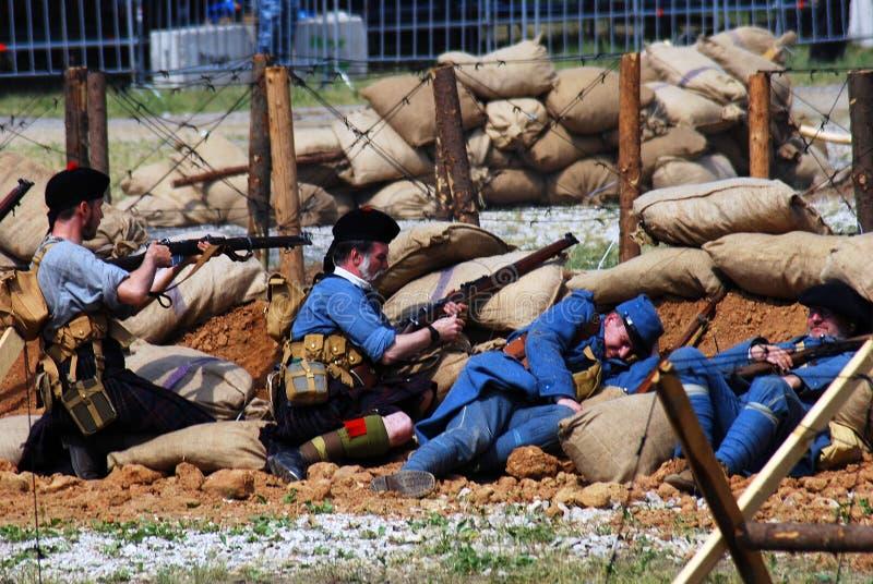 Première reconstitution de bataille de guerre mondiale photographie stock