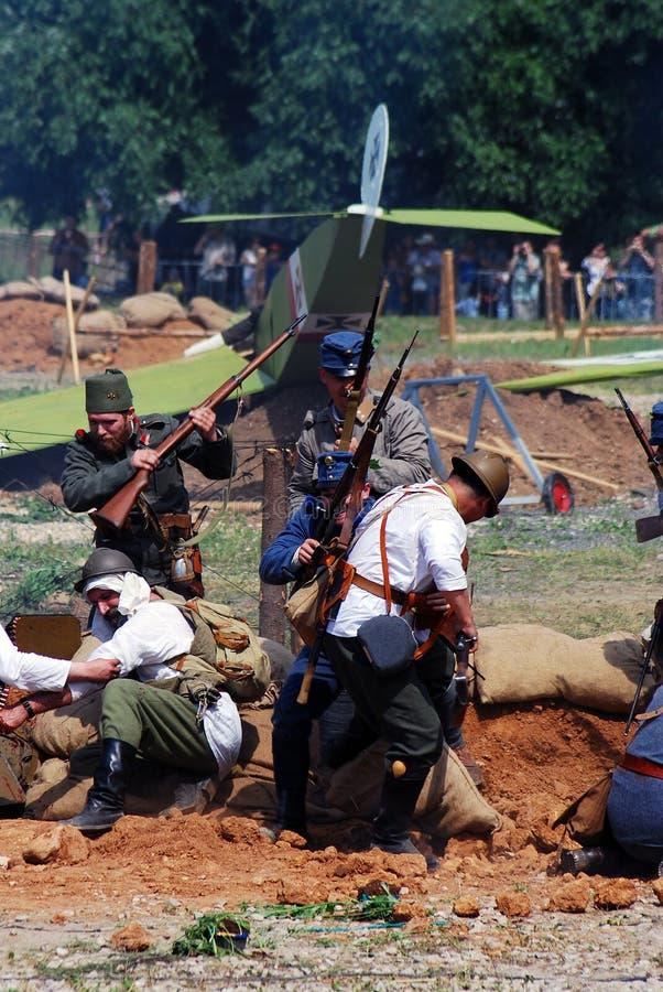 Première reconstitution de bataille de guerre mondiale photo libre de droits
