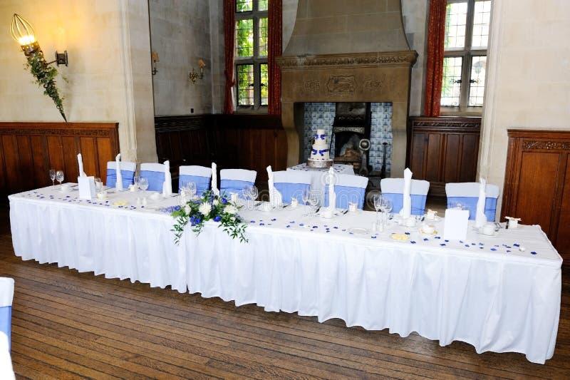 Première table à la réception de mariage photo libre de droits