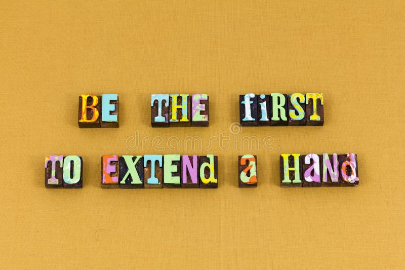 Première typographie de charité de gentillesse de main d'aide image stock