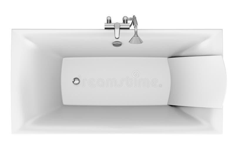 Première vue de baignoire moderne d'isolement sur le blanc illustration de vecteur