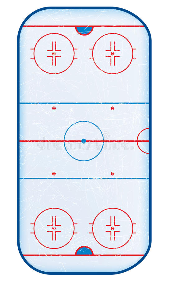 Première vue de patinoire d'hockey. illustration de vecteur