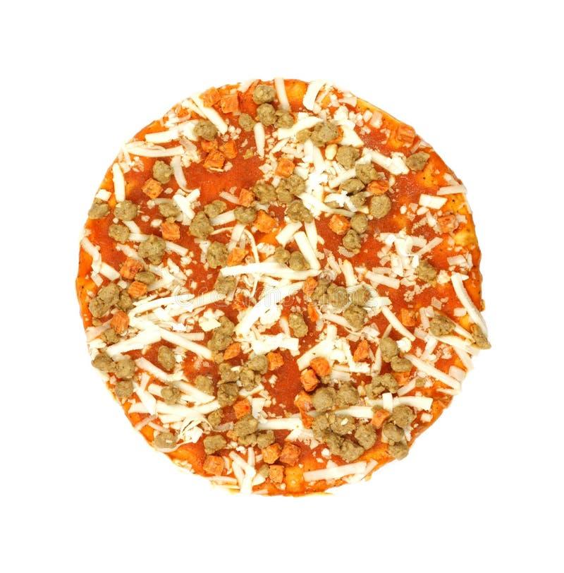 Première vue de petite pizza congelée image stock