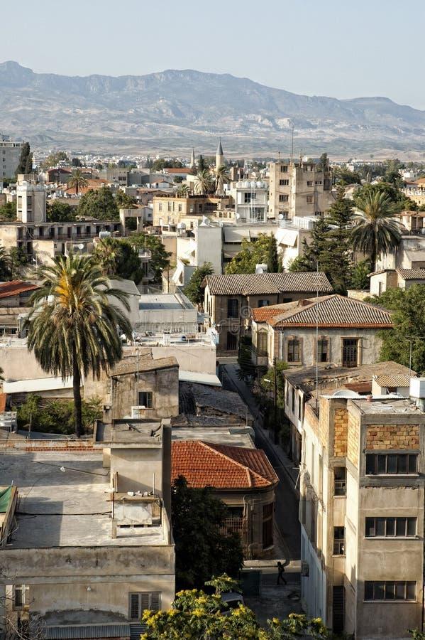 Première vue de vieille ville de Nicosia. image stock