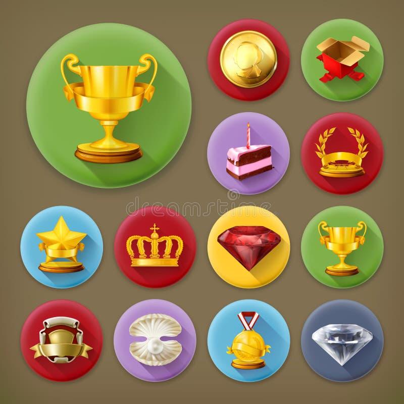 Premi e risultato, insieme dell'icona illustrazione vettoriale