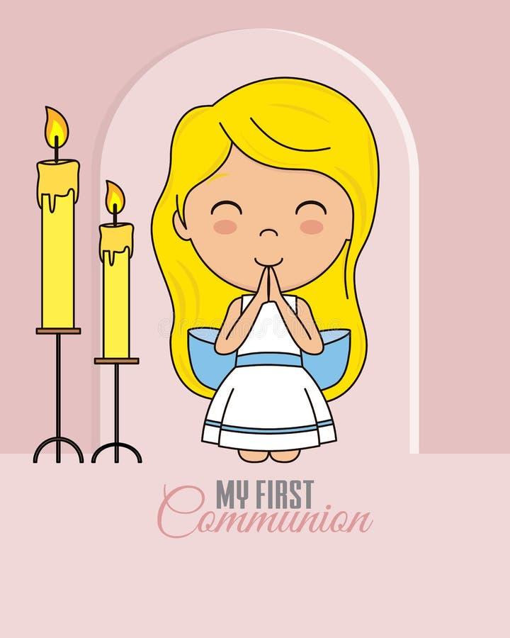 Premi?re carte de communion pri?re de fille illustration stock