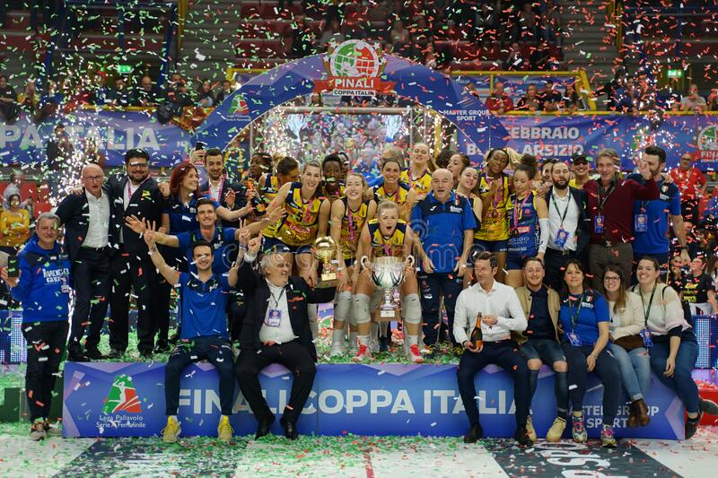 Volleyball Italian Women Cup Finals 2020 - Imoco Conegliano vs Unet E-work Yamamay Busto Arsizio stock photos