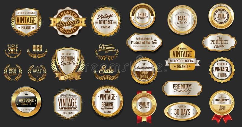 Premie en inzameling van van luxe de zilveren en zwarte retro kentekens en etiketten royalty-vrije illustratie
