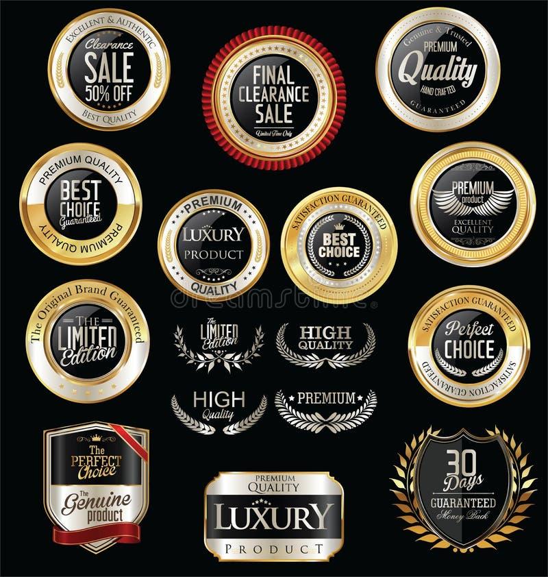 Premie en inzameling van van luxe de zilveren retro kentekens en etiketten stock illustratie
