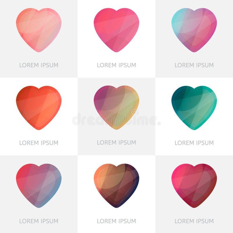 Premie kleurrijke reeks geometrische pictogrammen van embleemharten in lage polystijl vector illustratie