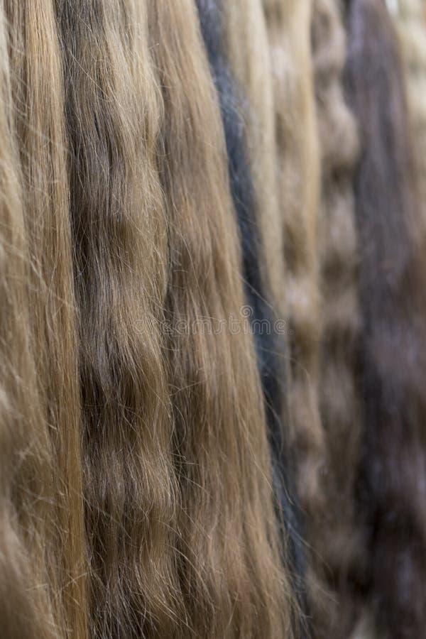 Premie verschillende die kleur klem-in haaruitbreidingen in pruikenwinkel worden getoond royalty-vrije stock fotografie