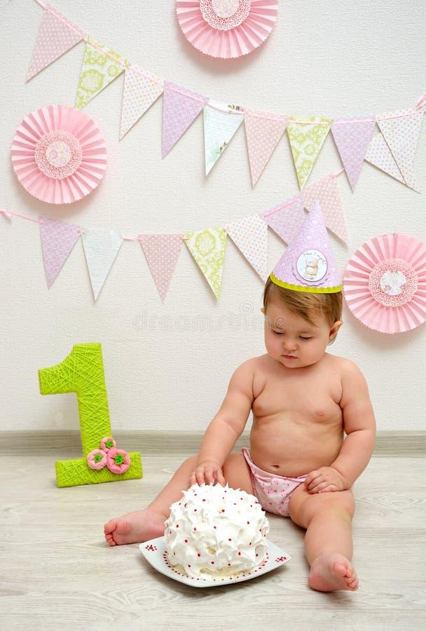 Premier anniversaire de bébé photo libre de droits