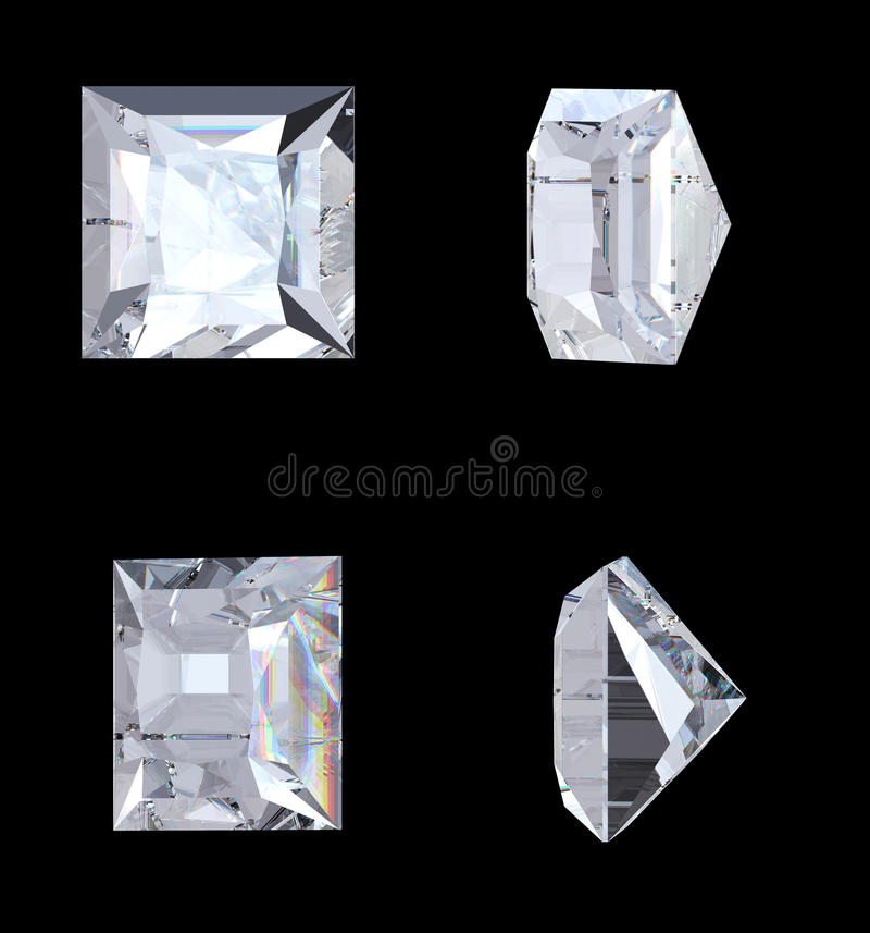 Premier bas et vues de côté de diamant de princesse illustration de vecteur