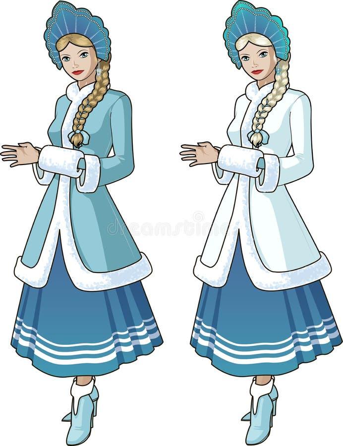 Premier caractère de neige avec la tresse blonde illustration stock