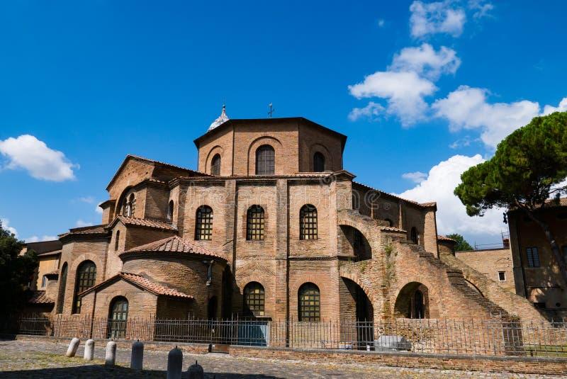 Premier Christian Basilica de San Vitale ? Ravenne Temple catholique, un ?chantillon d'architecture bizantine photo libre de droits