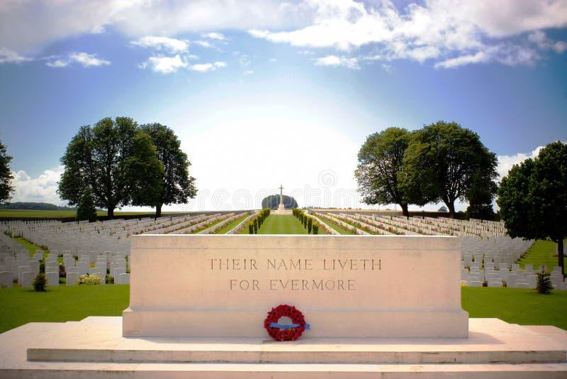 Premier cimetière de guerre mondiale près d'Arras, France du nord image libre de droits