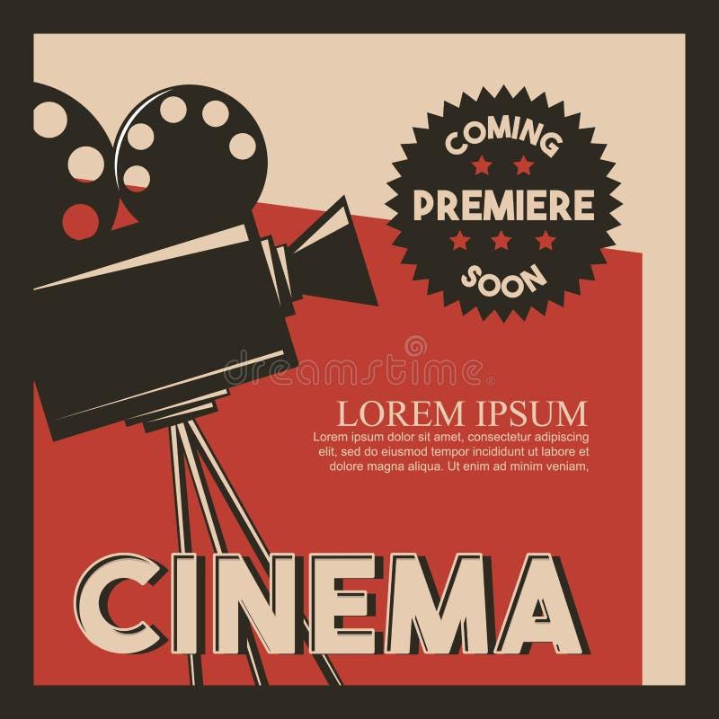 Premier de película retra de la cámara del estilo del cartel del cine stock de ilustración