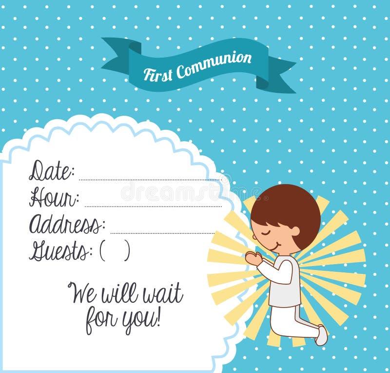 Premier design de carte de communion illustration libre de droits