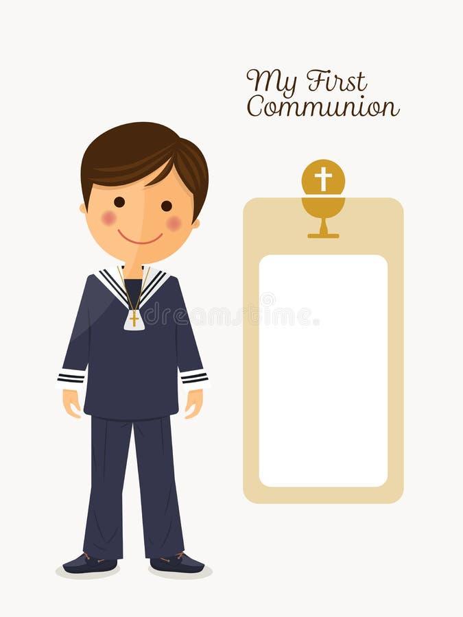 Premier enfant de communion sur le fond blanc avec le message illustration stock