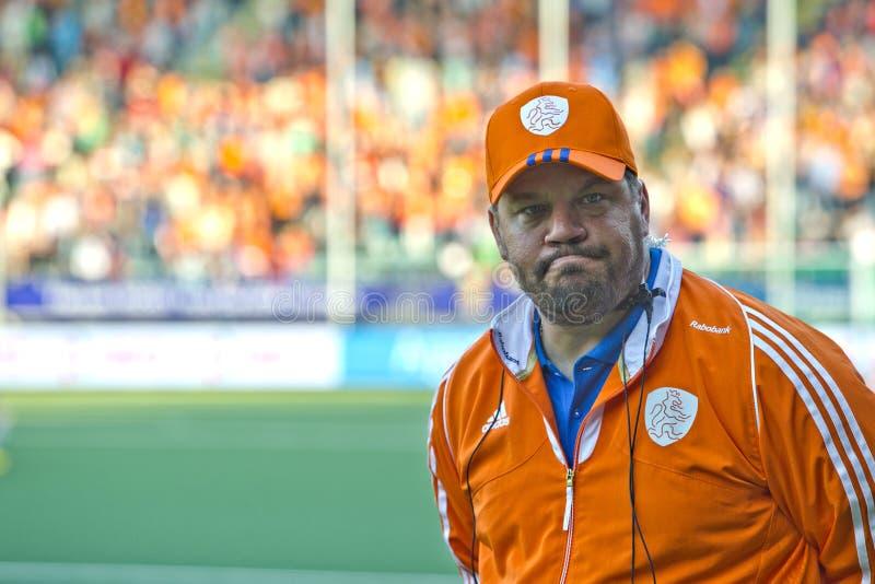 Premier entraîneur néerlandais Max Caldas d'hockey de femmes photographie stock