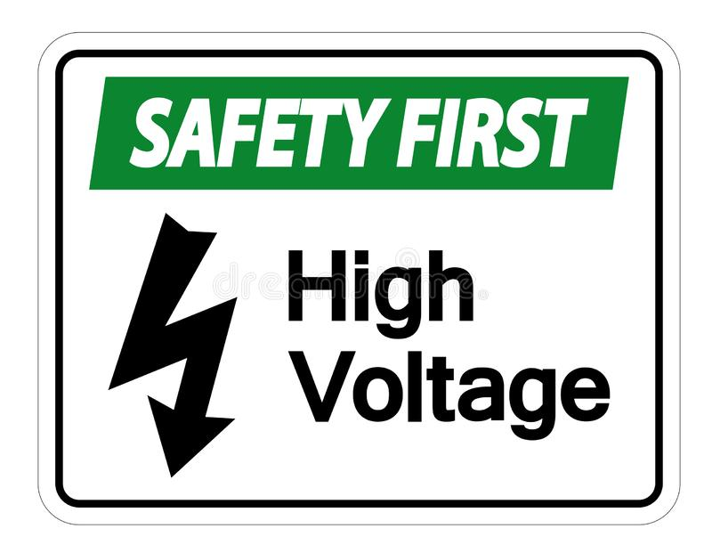Premier isolat à haute tension de signe de sécurité sur le fond blanc, illustration de vecteur illustration de vecteur