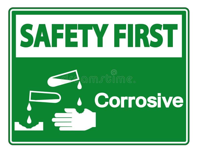 Premier isolat corrosif de signe de symbole de sécurité sur le fond blanc, illustration de vecteur illustration stock