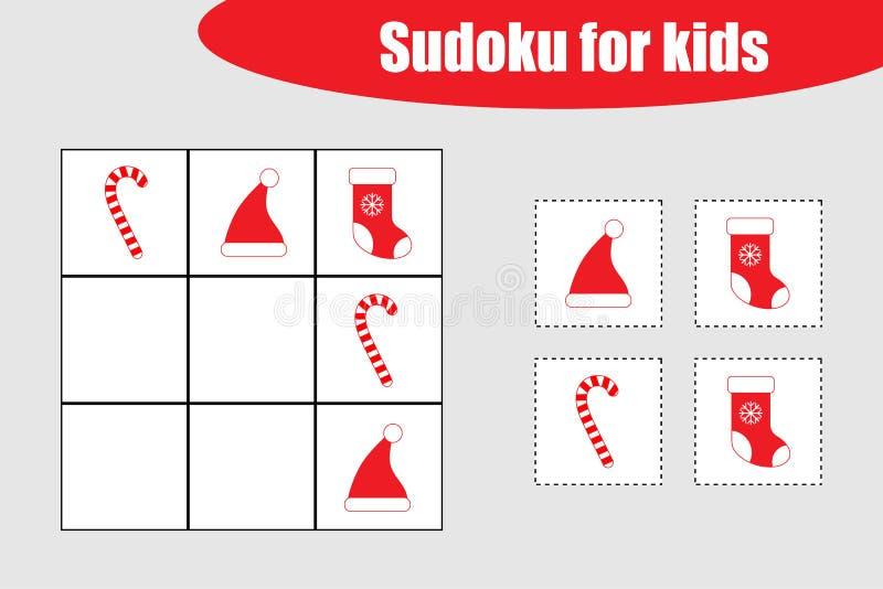 Premier jeu de Sudoku avec des images de Noël pour des enfants, niveau facile, jeu d'éducation pour des enfants, fiche de travail illustration libre de droits