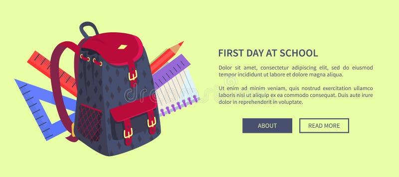 Premier jour à l'affiche d'école avec le sac à dos mignon illustration de vecteur