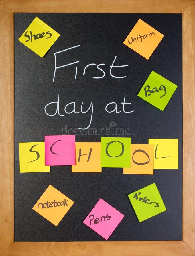Premier jour à la liste d'école photos libres de droits