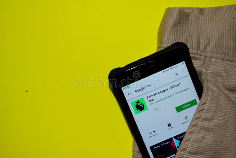 Premier League - Oficjalny App dev zastosowanie na Smartphone ekranie zdjęcia royalty free