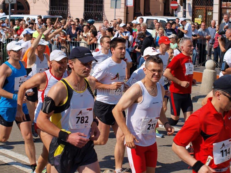 Premier marathon de Lublin, Lublin, Pologne images stock