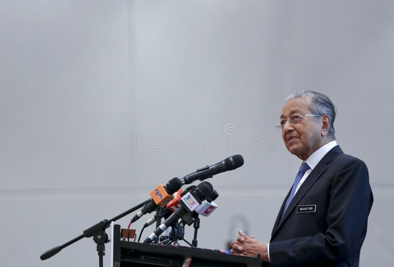 Premier ministre Mahathir Mohamad de la Malaisie image libre de droits