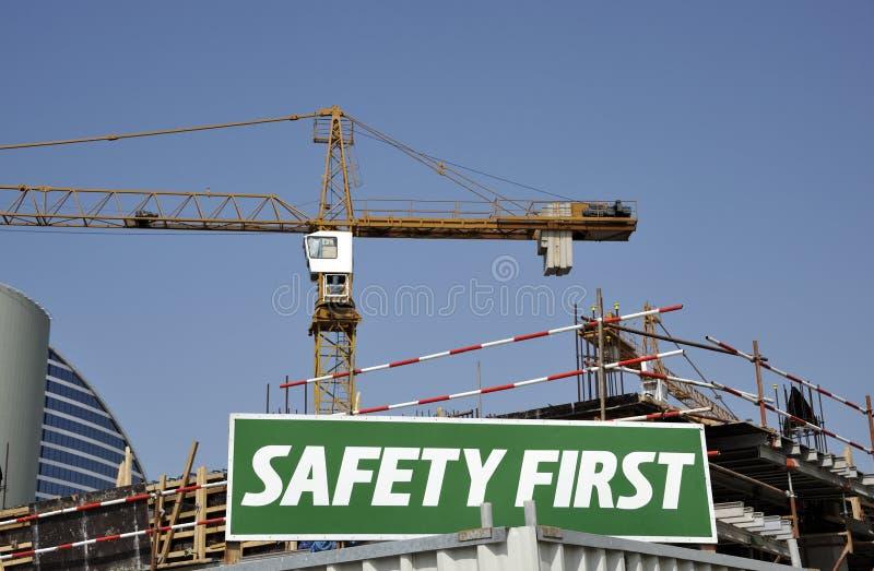 Premier panneau d'avertissement de sécurité photographie stock libre de droits