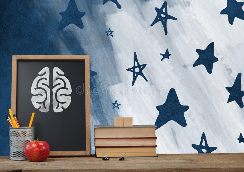 Premier plan de Brain Desk avec des graphiques de tableau noir des étoiles illustration stock