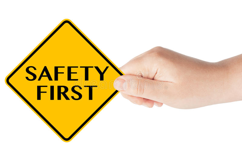 Premier poteau de signalisation de sécurité avec la main image libre de droits